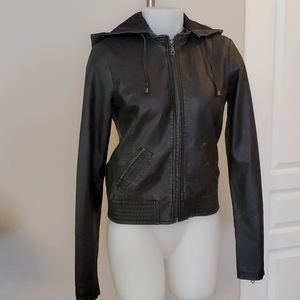 Billabong Black Faux Leather Bomber Jacket Small